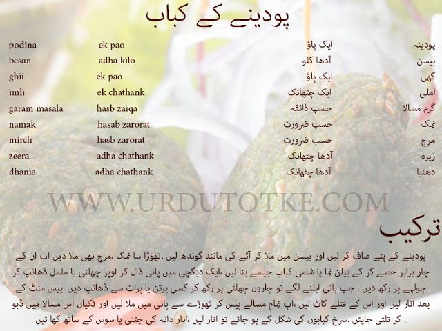 mint kebab recipe in hindi